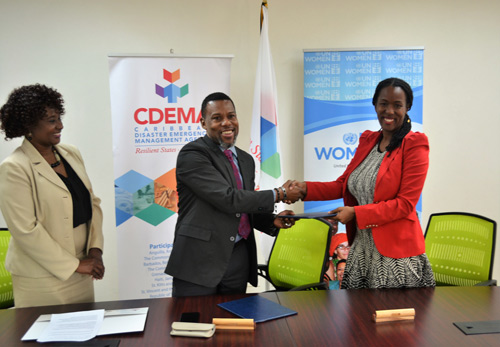 L-R: Andria Grosvenor, Planning and Business Development Manager, CDEMA; Ronald Jackson, Executive Director of CDEMA and Tonni Brodber, of UN Women during the signing of the MoU at the CDEMA Headquarters in St. Michael Barbados