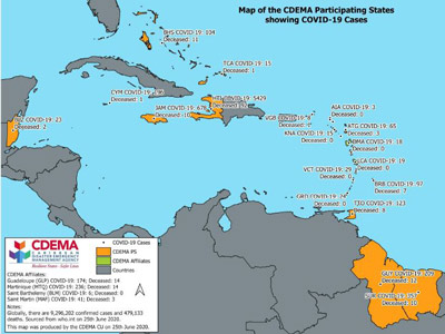 CDEMA Situation Report #16 - COVID-19 Outbreak in CDEMA Participating States - as of 8:00pm on June 25th, 2020