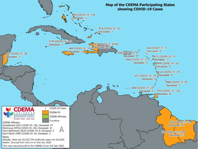 CDEMA Situation Report #17 - COVID-19 Outbreak in CDEMA Participating States - as of 8:00pm on July 2nd, 2020