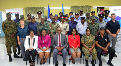 Members of the regional disciplined forces, implementing partners and facilitators participating in the 2nd CDRU training workshop, July 16, 2018.