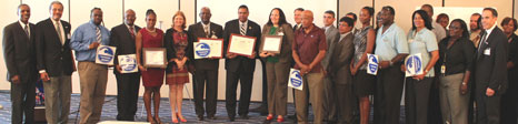Representatives from the Department of Disaster Management and their colleagues from the United States Virgin Islands receive TsunamiReady certificates, signs, pins and stickers at the Intergovernmental Coordination Group for Tsunami and other Coastal Hazards Warning System for the Caribbean and Adjacent Regions (CARIBE EWS) in St. Thomas on Tuesday, May 13, 2014.