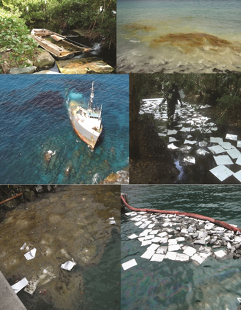 A collage of some of the oil spills that have occurred in the British Virgin Islands in recent years including Nanny Cay, Duff's Bottom, Leverick Bay, Road Town Jetty and the MV Vagabond