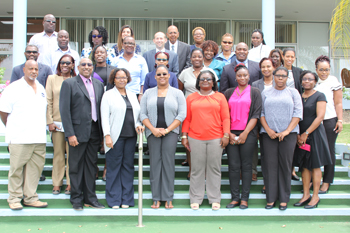 Participants from the CDEMA Coordinating Unit, 13 Participating States, Staff of the CDB and Consultant during the one-day workshop on the New Procurement and Contract Management Framework.