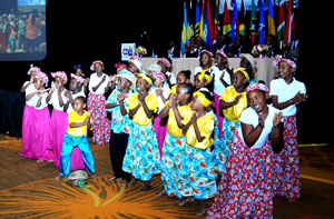 Eva Hilton Primary School Children give a choral rendition.  (BIS Photo/Kemuel Stubbs)