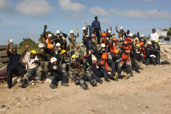 BVI and other participants jubilant at the conclusion of the final exercise which marked the culmination of the week-long intensive course which focused on collapsed structure rescue.