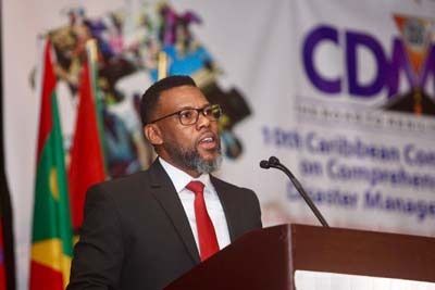 Ronald Jackson, Executive Director, Caribbean Disaster Emergency Management Agency at the 10th Caribbean Conference on Comprehensive Disaster Management, at Meliá Nassau Beach resort.   (BIS Photo/Kristaan Ingraham)