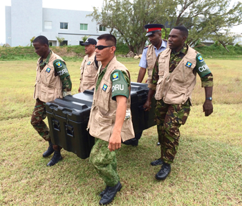 Members of CDRU team participating in the field training exercise at the Regional Security System Headquarters, Paragon, Christ Church, Barbados