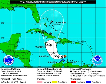 5-Day Forecast of Hurricane Matthew as at 11:00 a.m. Friday September 30, 2016 (National Hurricane Center, Miami, Florida)