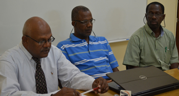 (l-r) Dr. Leighton Naraine, Program Development Director at Clarence Fitzroy Bryant College (CFBC), Wayland Vaughn,  CFBC Lecturer and Carl Herbert, National Disaster Coordinator, NEMA St Kitts/Nevis
