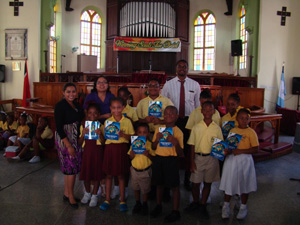 Students of Moulton Hall Methodist Primary School with their Kids Activity Books