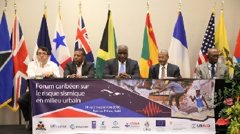 Members of the Head Table at the Closing Session of the Regional Seismic Risk Forum held in Haiti, 18-21 September, 2016. From Left: Mr. Arturo López-Portillo Contreras, ACS; Mr. Ronald Jackson, CDEMA; Mr. François Anick Joseph, Minister of the Interior and Local Authorities, Haïti,  Mr. Fritz Deshommes, State University; Mr. Yves Fritz Joseph, National Laboratory of Building and Public Work of Haiti. Photo credit: UNDP Haiti