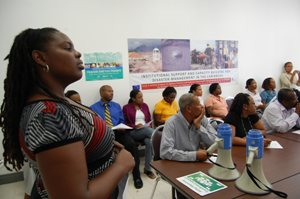 CDEMA Staff listens to comments during the Evaluation Phase of Exercise Shake-up