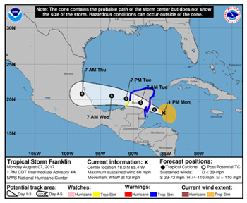 Tropical Storm Franklin forecast track, August 7, 2017 - NHC