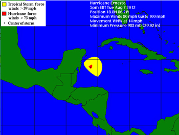 Hurricane Ernesto Tropical Force Wind