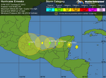 Hurricane Ernesto track across the Yucatan Peninsula