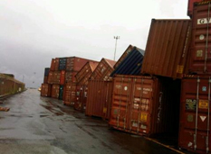 Containers blown down by Tropical Storm Ernesto