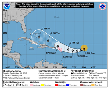 Hurricane Irma forecast track, September 3, 2017 - NHC