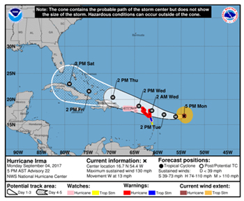 Hurricane Irma forecast track, September 4, 2017 - NHC