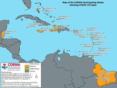 CDEMA Situation Report #15 - COVID-19 Outbreak in CDEMA Participating States - as of 8:00pm on June 18th, 2020