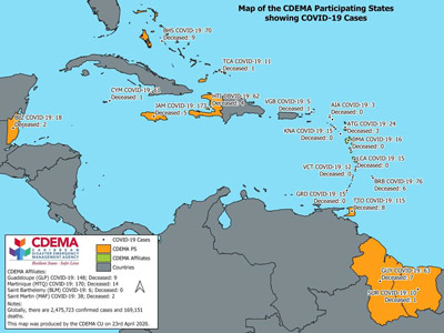 CDEMA Situation Report #7 - COVID-19 Outbreak in CDEMA Participating States - as of 8:00pm on April 23rd, 2020