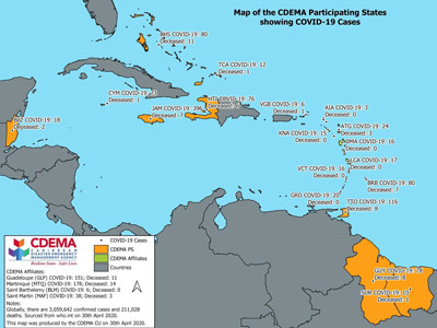 CDEMA Situation Report #8 - COVID-19 Outbreak in CDEMA Participating States - as of 8:00pm on April 30th, 2020