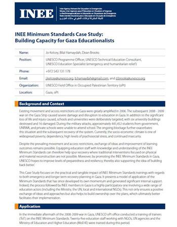 INEE Minimum Standards Case Study - Building Capacity for Gaza Educationalists