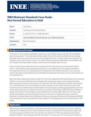 INEE Minimum Standards Case Study - Non-formal Education in Haiti