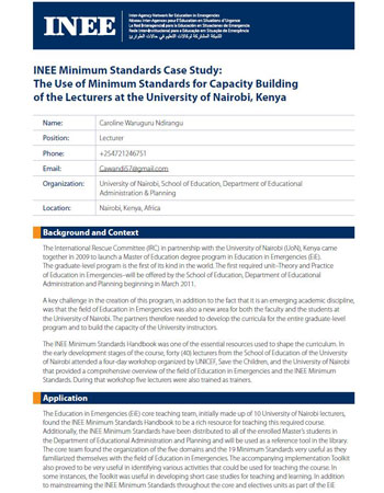 INEE Minimum Standards Case Study - The Use of Minimum Standards for Capacity Building of the Lecturers at the University of Nairobi, Kenya