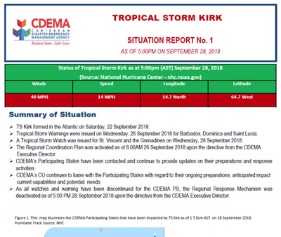 CDEMA Situation Report #1 - Tropical Storm Kirk as of 5:00PM (AST) on September 28, 2018