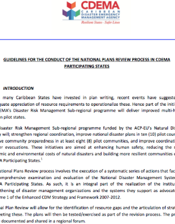 Guidelines For The Conduct Of The National Plans Review Process In CDEMA Participating States