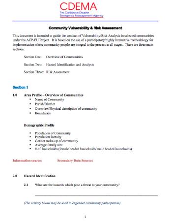 Community Vulnerability & Risk Assessment