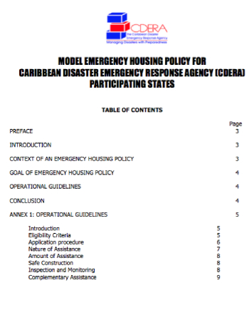 Model Emergency Housing Policy For CDEMA PS